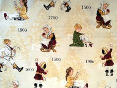 Featuring Children dressed in style through the years showing how fashion has change through the years. • Cotton 100% • Width 42 inches • Cream background • If you buy more than one item it will be sent in one uncut continuous piece unless  otherwise specified. Measures 18 x 42 inches Price by HALF YARD