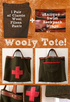 DIY Tote Bag - my husband would kill me for cutting up some filson pants, but this is cute.