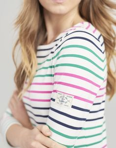 Joules Harbour Jersey Top Pink, Greem and Blue Stripe Thermal Long Sleeve, Long Sleeve Tops, Joules Clothing, T Shirt Transfers, Striped Jersey, Stylish Tops, Casual T Shirts, Black Fabric, Blue Stripes