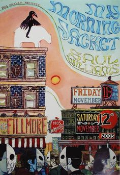 Original concert poster for My Morning Jacket and Saul Williams at the Fillmore in San Francisco, CA. 13 x 19 on card stock paper. Art by Manny Silva. F728