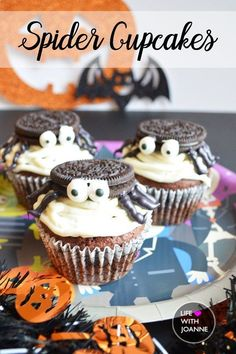 These spider cupcakes for Halloween are sure to please your all your little goblins and ghouls! #halloweencupcakes #spidercupcakes #halloweentreats #halloweenbaking  via @joannegreco