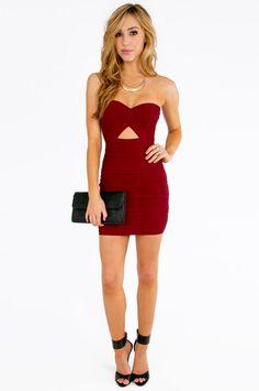 Diana Strapless Bodycon Dress #red