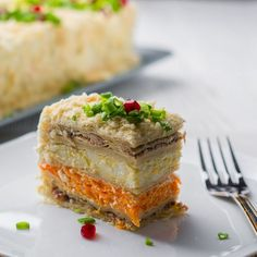 "Закусочный Торт ""Наполеон"" на Новогодний Праздничный стол 2018 Top Salad Recipe, Napoleon Cake, Savory Pastry, Sandwich Cake, Salty Cake, Russian Recipes, International Recipes, Fish Recipes, Food Photo"