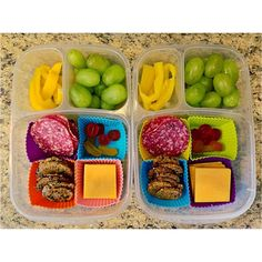 Lunch today, in our #EasyLunchboxes, is homemade lunchables with salami, cheese and crackers, grapes, yellow peppers, and a couple gummy snacks.