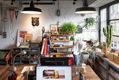a design startup designed their own new office in Taichung Taiwan. Filled with natural light plenty of office plants and playful colors the office uses design to reflect the creativity of the company. Stylish Office, Cool Office, Small Office, Office Decor, Workspace Design, Office Interior Design, Office Interiors, Office Designs, Kitchen Interior