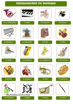 INSTRUMENTS DE MUSIQUE Plus Core French, French Class, French Teaching Resources, Teaching French, Banjo, Music Terms, Loyalty Quotes, Music Class, Teaching Music