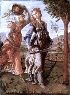 Sandro Botticelli, Le retour de Judith. Tempera sur bois, 31 × 24 cm 1472-1473. Florence, Galleria degli Uffici. Wikimedia CC.