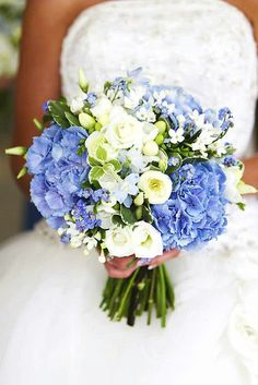 Beautiful Bridal Bouquet: White Freesia, White Lisianthus & Buds, White Bouvardia, Light Blue Delphinium & Blue Hydrangea