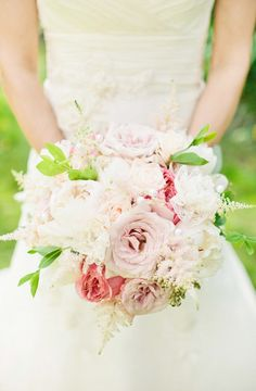 Look closely! and you'll see some lace flowers the brides mother made, lovingly inserted into this bouquet. Just beautiful! Photography by lindsaymaddenphotography.com, Floral Design by anightinbloom.com