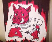 Arkansas Razorback Paintings by SassyHog on Etsy