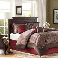 """If classic is your style, Talbot is perfect for you. The jacquard weave is inspired from an updated paisley motif and is woven in a beautiful combination of chocolate brown, deep red and and a hint of gold. The comforter and shams offer beautiful details with a 2"""" flange and 1/2"""" flat piping in deep red. The reverse of the comforter is a chocolate brown color. Pops of red and ivory are used throughout the three decorative pillows in order to incorporate all elements from the top of bed into…"""