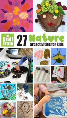 Get outside, explore and create with these 27 nature art ideas for kids of all ages from preschoolers and up. Includes process art, land art, texture stamping, messy play mud art and Creative Activities For Kids, Fun Crafts For Kids, Summer Crafts, Preschool Crafts, Projects For Kids, Art For Kids, Arts And Crafts, Infant Activities, Fun Activities