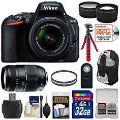 Nikon D5500 DSLR Camera & 18-55mm VR, 70-300mm Lenses with 32GB Card + Backpack + Tripod Kit (Certified Refurbished)
