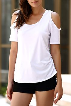 $12.20 Sexy U Neck Cold Shoulder Solid Color T-Shirt For Women