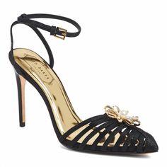 24b7d13b9 Black Leather Embellished Zhine Sling Back Sandals - Ted Baker Footwear  Women Floral Sandals