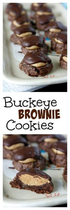 Buckeye Brownie Cookies - the ultimate chocolate peanut butter cookie!