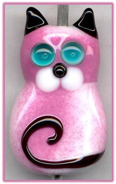 Pink Kitty Cat ~Seira~ Focal Handmade Glass Lampwork Bead Handmade SRA W79 :) ♥♥♥
