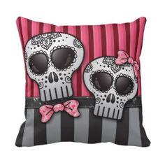 Sugar Skull Apron | Skull Pattern On Red Throw Pillows, Skull Pattern On Red Pillow ...
