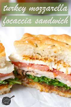 You& love this turkey and mozzarella focaccia sandwich! Made with an amazing rosemary focaccia and easy sundried tomato pesto, it will become your new favorite! Vegetarian Sandwich Recipes, Breakfast Sandwich Recipes, Easy Sandwich Recipes, Sandwich Ideas, Vegetarian Dinners, Cold Sandwiches, Sandwiches For Lunch, Turkey Sandwiches, Panini Sandwiches