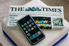Newspaper and iphone cake by Simon Campbell