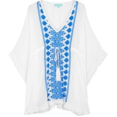 Melissa Odabash Isabelle Embroidered Rayon Kaftan - Size One Size ($340) ❤ liked on Polyvore featuring tops, tunics, caftan tunic, white embroidered tunic, white kaftan, white beaded top and embroidered tunic