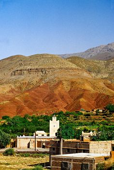 The High Atlas Mountains, Morocco. High Atlas, also called the Grand Atlas Mountains is a mountain range in central Morocco in Northern Africa. The High Atlas rises in the west at the Atlantic Ocean and stretches in an eastern direction to the Moroccan-Algerian border.