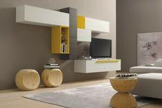 meuble en bois de couleur blanc, gris et jaune