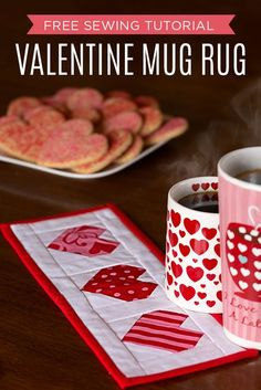 Make a Valentine Mug Rug/Mini Quilt with Easy Paper Piecing Instructions! Quilting Projects, Sewing Projects, Sewing Tutorials, Sewing Crafts, Quilting Ideas, Craft Tutorials, Craft Ideas, Mug Rug Patterns, Quilt Patterns