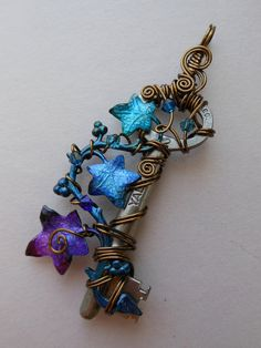 Ivy Vine Key Pendant -- Wire Wrapped Key with Purple, Blue, Turquoise Ivy Leaves, Swarovski Crystals, Vintage Bronze Wire