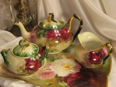 """Magnificent Antique Limoges France Tea Set Hand Painted Roses """"Romantic Victorian Tea Roses"""" Jean Pouyat French Tea Pot Matching Creamer and..."""