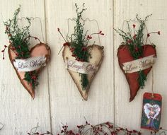 Primitive Craft Show Ideas | Vintage Keepsake Trunk: PRIMITIVE GRUNGY HEART TRIO BOWL FILLERS/WALL ...