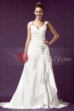 Aラインストラップ床長さプリーツチャペルウェディングドレス