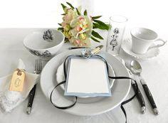Mad Tea Party menu cards and napkin ties