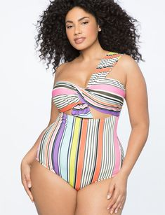 a9557dd144e One Shoulder Twist Front Swimsuit from ELOQUII. Plus size fashion that fits  like a dream