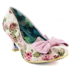 Irregular Choice Dazzles 2nd Razzle 4136-7Q Womens Low Heel Court Shoes - Pink Floral