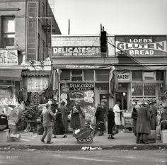 """December 1936. """"Scene along Bathgate Avenue in the Bronx, a section from which many of the New Jersey homesteaders have come."""" Medium format negative by Arthur Rothstein for the Resettlement Administration.  ~ Shorpy - The 100-Year-Old Photo Blog"""