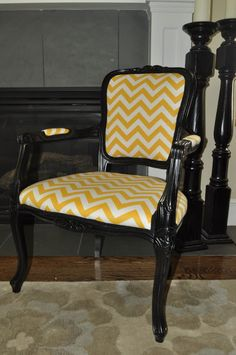 Cassandra Design: Yellow Chevron Chair for Bridal Showcase