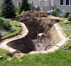 Pond under construction. The surface area is not large, but it is deep allowing for more fish