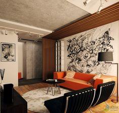 Интерьер в стиле лофт, современная гостиная