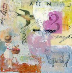 Original Encaustic Collage Painting  Seeing the by TheLegendofNow (Angela Petsis) #art #contemporary #encaustic #collage #painting #sheep #swallow