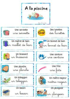 piscine, vocabulaire, étiquettes, mur de mots Teaching French, Autism Education, Core French, French Classroom, French Resources, French Quotes, How To Treat Acne, Sensory Play, French Tips