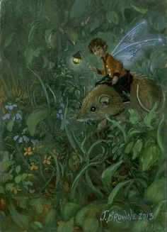 A little fairy boy on his way home from school on one of the family mice.