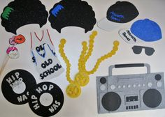 Hip Hop Photo Booth Props. baseball cap boom box gold necklace  vinly records jersey