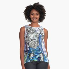 'Silver Titan' Sleeveless Top by Artemix Apparel Design, Contrast, Chiffon, Printed, Awesome, People, Silver, Black, Tops