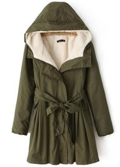 Comfy Hooded Collar Long Sleeve Army Green Coat for Woman