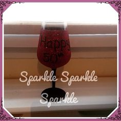 Large glass glitter with 2 colours and personalised for someone's birthday. Www.facebook.com/sparktacularcreations xx