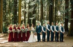 Photography: Stefan and Audrey Photography Dress: Mori Lee Bridesmaid dresses: lulus.com  Burgundy Berry gowns with accents of gold jewelry. Greenery crowns for my girls and raspberries tucked in the bouquets. Slate/Navy suits for the men. PNW Berry wedding.