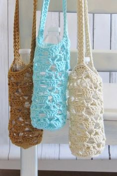 Try this free crochet pattern for a water bottle holder. The bottle carrier is very convenient and will keep your hands free. This is an easy and quick beginner friendly project that everyone can enjoy. Water Bottle Carrier, Water Bottle Holders, Bottle Bag, Crochet Throw Pattern, Afghan Crochet Patterns, Crochet Cape, Crochet Edgings, Shawl Patterns, Blanket Crochet