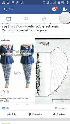 Discover thousands of images about Pola rok Batik Fashion, Fashion Sewing, Diy Fashion, Ideias Fashion, Vestido Batik, Batik Dress, Skirt Patterns Sewing, Clothing Patterns, Model Rok Kebaya