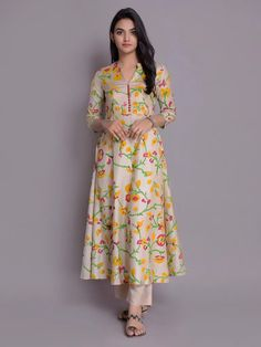 Beige Yellow Handloom Cotton Silk Kurta with Pants- Set of 2 Printed Kurti Designs, Silk Kurti Designs, Churidar Designs, Kurta Designs Women, Kurti Designs Party Wear, Blouse Designs, Kurta Neck Design, Designs For Dresses, Dress Indian Style